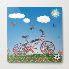 Pink bicycle Metal Print