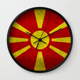 "Flag of Macedonia in ""Super Grunge"" Wall Clock"