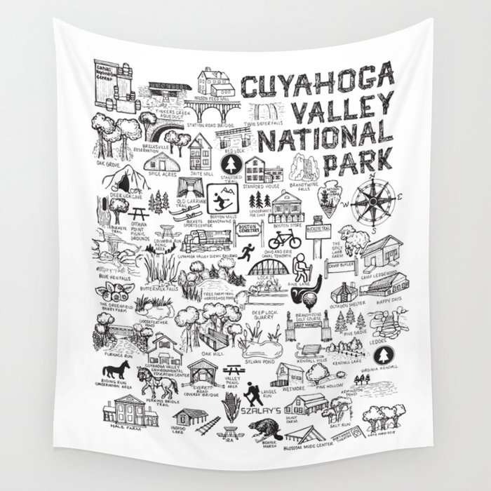 Cuyahoga Valley National Park Map Wall Tapestry