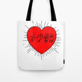 Love sign language Heart Cupid Partner Gift Tote Bag