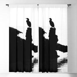 Perched Cormorant. Blackout Curtain