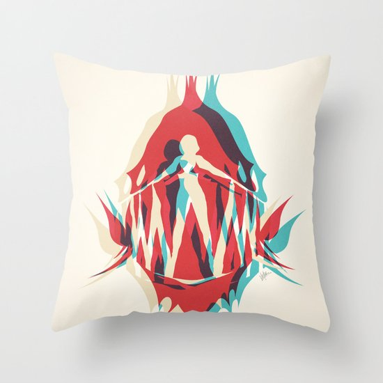 Piranha Girl Throw Pillow