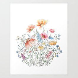 wild flower bouquet and blue bird- ink and watercolor 2 Art Print