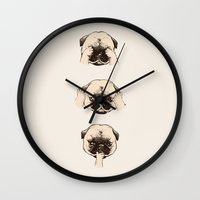 evil Wall Clocks featuring No Evil Pug  by Huebucket