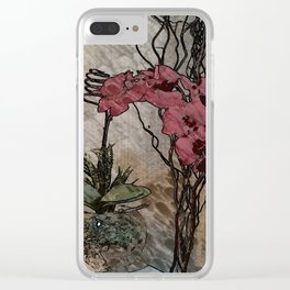 Orchid Illustration Clear iPhone Case