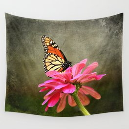Monarch Butterfly and Pink Zinnia Wall Tapestry