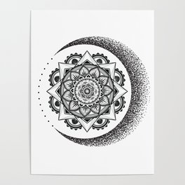 Stipple Moon Mandala Poster