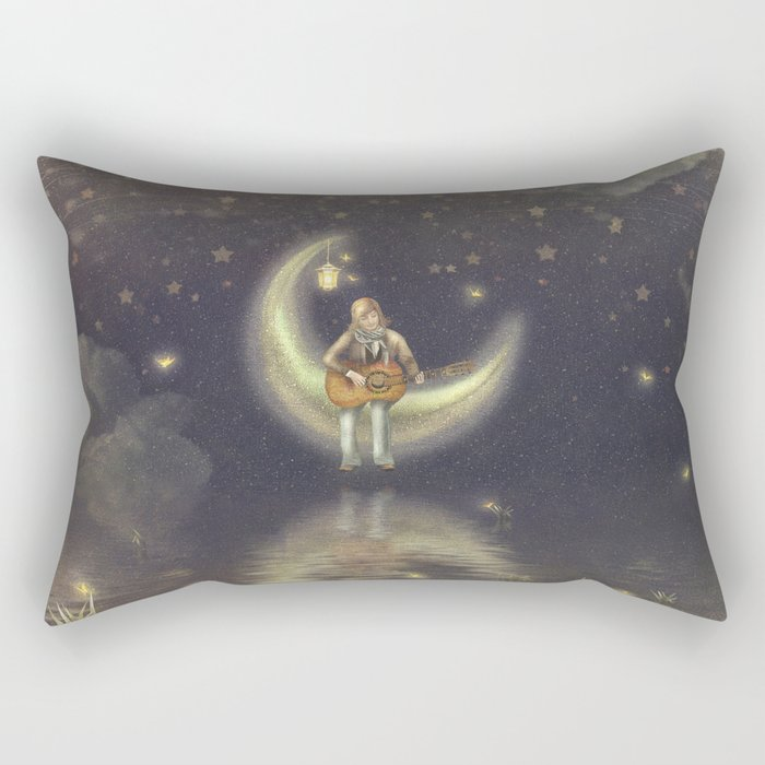 Story about boy who play guitar on moon Rectangular Pillow