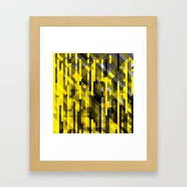 abstract composition in yellow and grays Framed Art Print