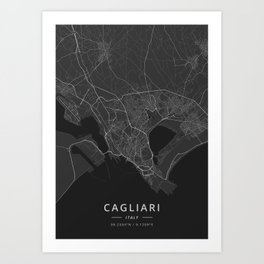 Cagliari, Italy - Dark Map Art Print