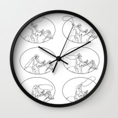Cowboy Lasso Riding Horse Drawing Collection Set Wall Clock