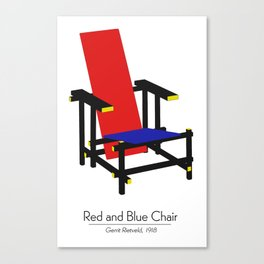 Red and Blue chair - Rood Blauwe stoel - Gerrit Rietveld Canvas Print