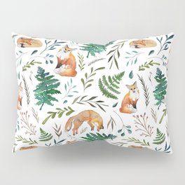 Foxes and Ferns Pattern Pillow Sham