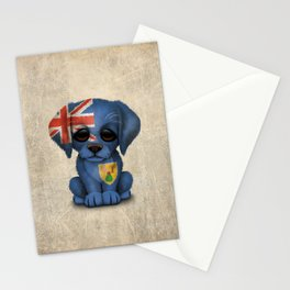 Cute Puppy Dog with flag of Turks and Caicos Stationery Cards