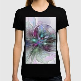 Colorful Fantasy Abstract Modern Fractal Flower T-shirt