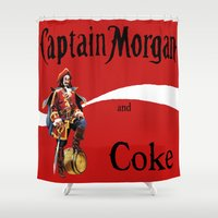 coke Shower Curtains featuring Captain and Coke by Hitting 50