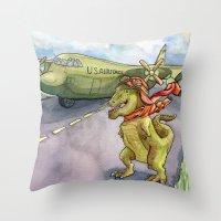 pilot Throw Pillows featuring Tyranosaurus Pilot by Theresa Lammon