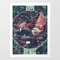 Christmas Squid Art Print