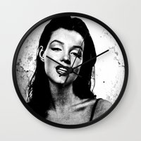 marilyn Wall Clocks featuring Marilyn  by Saundra Myles