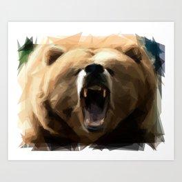 Geometric angry bear Art Print