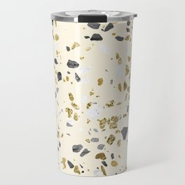 Glitter and Grit Yellow Gold Marble Travel Mug