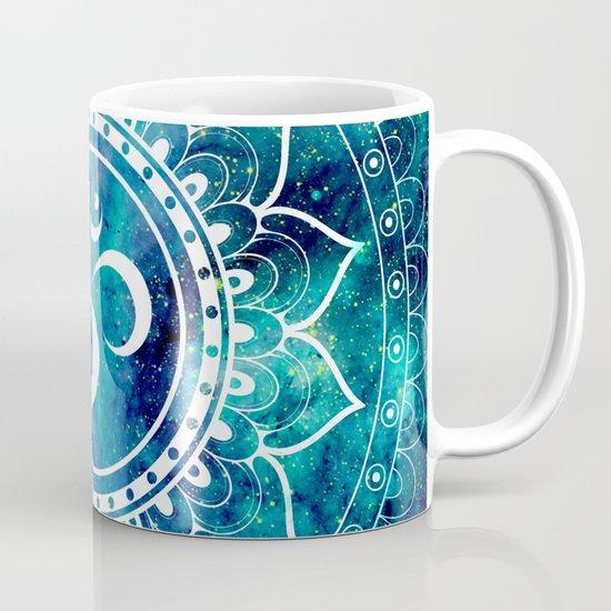 Galaxy om mandala aqua midnight blue coffee mug by for Blue mug designs