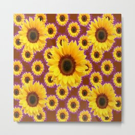 Brown & Violet Accents Color Sunflowers Pattern Metal Print