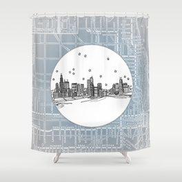 Chicago, Illinois City Skyline Illustration Drawing Shower Curtain