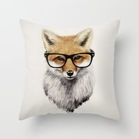 christmas Throw Pillows featuring Mr. Fox by Isaiah K. Stephens