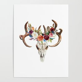 Colorful flowers & feathers dreamcatcher bull skull Poster