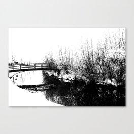 Bridge and Stream Winter Scene Canvas Print