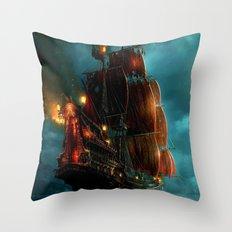 Pirates on sea Throw Pillow