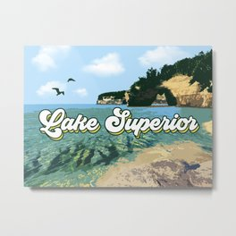 Lake Superior Retro Metal Print