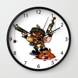 soldier nut cartoon Wall Clock