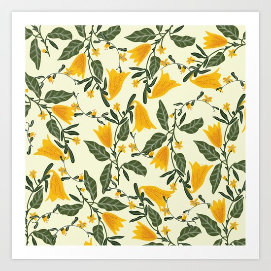 Yellow Bright Flower Pattern Art Print