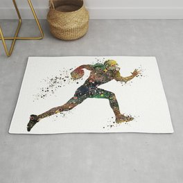 American Football Player Watercolor Silhouette Rug