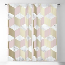 Geometric, Marble, Blush Pink and Gold, Cube 3D Pattern Blackout Curtain