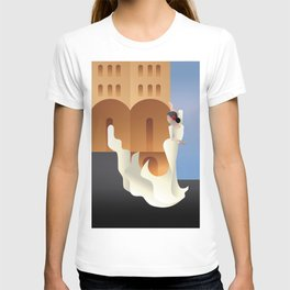 Art Deco Spain Flamenco dancer on sity landscape T-shirt