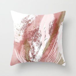 Sugar and Spice: a minimal, abstract mixed-media piece in pink and brown by Alyssa Hamilton Art Throw Pillow