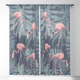 Summer Flamingo Jungle Night Vibes #1 #tropical #decor #art #society6 Sheer Curtain