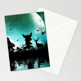 Litte fairy with deer in the night Stationery Cards