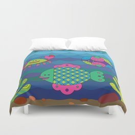 Stylize fantasy fishes under water. Duvet Cover