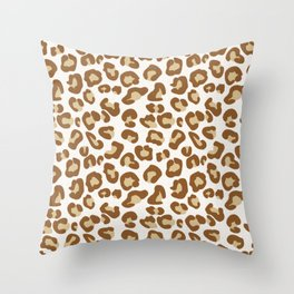 Snow Leopard Print, Beige, Tan, and Cream Throw Pillow