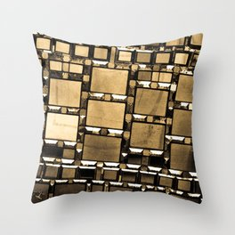 Sepia Abstract Geometric Shapes Decorative Mirror Print Throw Pillow