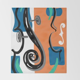 Scroll Pride - violin viola cello love - orange and teal Throw Blanket