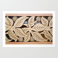Bronze Art deco leaves Art Print