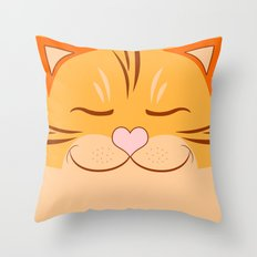 Cute Orange Tiger Cat Face Throw Pillow