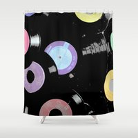 records Shower Curtains featuring Records by Whitney Retter