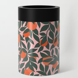 Oranges and Leaves Pattern - Pink Can Cooler