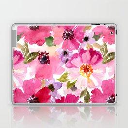 Watercolor Flowers Pink Fuchsia Laptop & iPad Skin